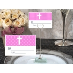 Pink Cross Place Card with Metal Place Card Holder