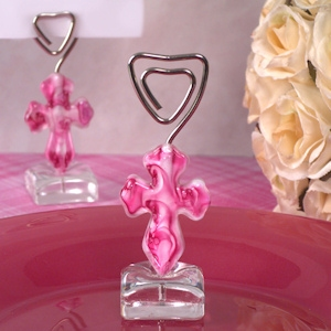 Murano Pink Glass Cross Place Card Holder imagerjs