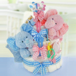 Gingham & Giggles Twins 3 Tier Diaper Cake
