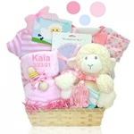 Personalized Pink or Blue Lamby Nap Time Basket
