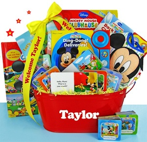 Mickey's First Library Personalized Book Basket imagerjs