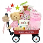 Personalized It's A Girl Baby Gift Wagon