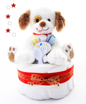 Puppy Paws One Tier Diaper Cake imagerjs