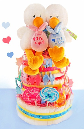 Special Delivery Twins Stork Diaper Cake image