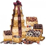 Golden Delights Sweet Tower with Logo Ribbon