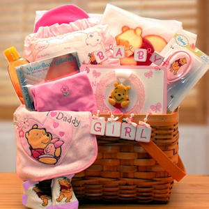 Winnie The Pooh New Baby Girl Basket imagerjs