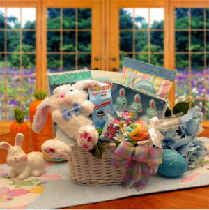 Bunny Fun in Blue Easter Gift Basket imagerjs