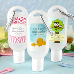 Personalized Baby Hand Sanitizer Favors with Carabiner