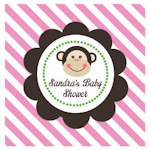 Pink Monkey Party Personalized Favor Tags