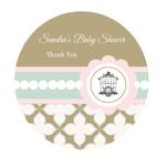 Birdcage Party Personalized Round Labels