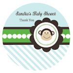 Blue Monkey Party Personalized Round Stickers