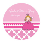 Princess Party Personalized Round Favor Stickers