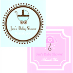 Square Baby Shower Labels and Tags (Set of 20)