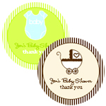 Small Round Baby Shower Labels (Set of 35)