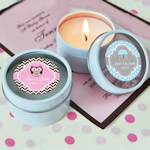 Personalized Baby Shower Round Candle Tins