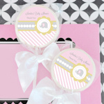 Pink Elephant Personalized Baby Shower Lollipop Favors