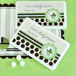 Personalized Green Baby Carriage Mini Mint Favors