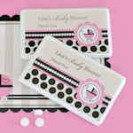 Personalized Pink Baby Carriage Mini Mint Favors