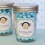 Blue Monkey Party Personalized Mini Mason Favor Jars
