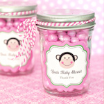 Pink Monkey Party Personalized Mini Mason Favor Jars