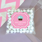 Personalized Cupcake Party Clear Candy Bags (Set of 24)