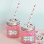 Personalized Mason Drinking Jars and Flower Lids
