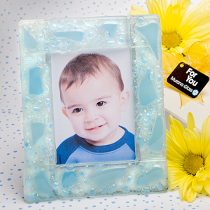 Blue Mosaic Frosted Glass Photo Frame imagerjs