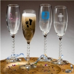 Personalized Twisted Stem Baby Shower Champagne Flutes