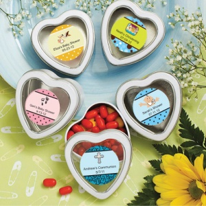 Personalized Heart Shaped White Baby Mint Tins imagerjs