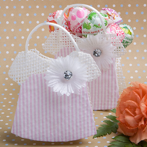 Pink and White Striped Baby Jumper Favor Bags imagerjs