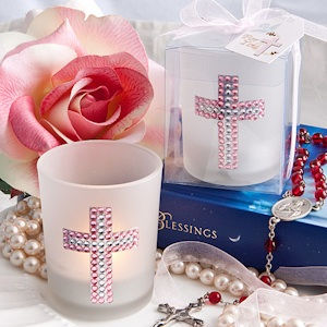Bling Pink Cross Candle Favors imagerjs