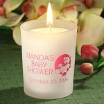 Personalized Baby Shower Glass Candle Holder