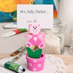 Pink Teddy Bear Pot Place Card/Photo Holder