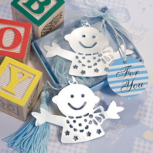 Adorable Blue Baby Bookmark Favors imagerjs