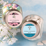 Personalized Christening Glass Jar Favors