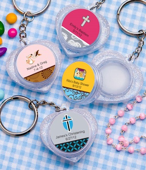 Personalized Baby Heart Shaped Lip Balm Keychain Favors imagerjs
