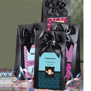 Black Personalized Baby Gift Box with Bow imagerjs