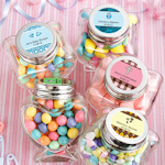 Personalized Baby Themed Heart Shaped Glass Jars