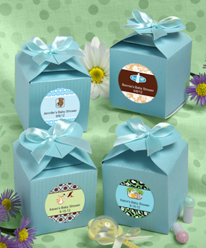 Personalized Baby Blue Heart-Topped Favor Boxes imagerjs