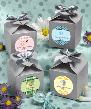 Personalized Baby Silver Heart-Topped Favor Boxes imagerjs