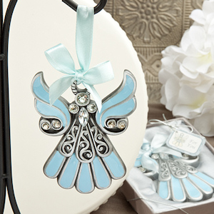 Shimmering Blue & Pewter Angel Ornament imagerjs