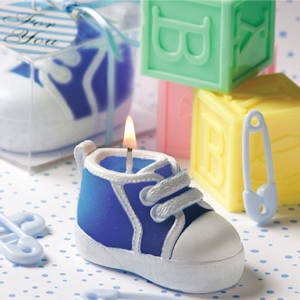 Blue Baby Sneaker Candle Favors imagerjs