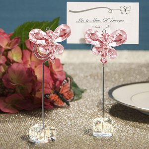 Crystal Butterfly Place Card Holders - Pink imagerjs