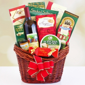 Holiday Red Gourmet Wine Basket imagerjs