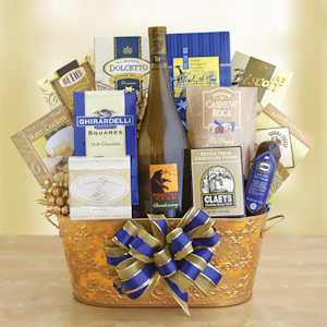 Glorious and Golden Wine Gift Basket imagerjs