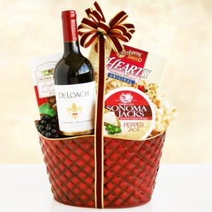 Cheers to the Holidays Wine Basket imagerjs