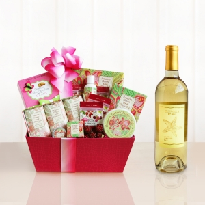 Mom's Passion Flower Spa and Wine Relaxation Gift imagerjs