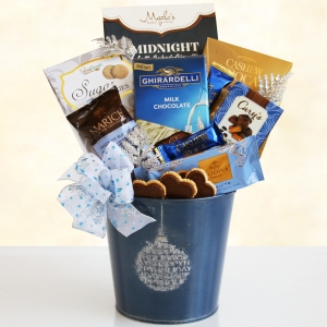 Blue Holiday Ornament Tin of Gourmet Treats imagerjs