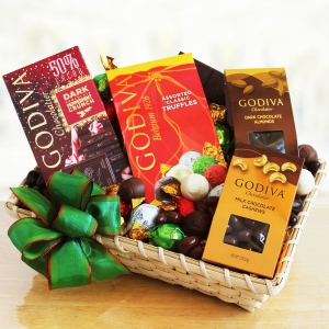 Sweet Holiday Dreams of Godiva Gift Basket imagerjs