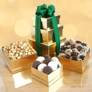 Golden Holiday Tower Gift imagerjs